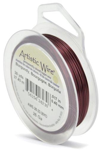 Artistic Wire, 26 Gauge, Burgundy Color, 30 yd (27.4 m) Craft Wire