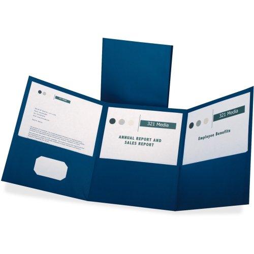 Oxford Tri-Fold Pocket Folders - Letter - 8.5''  Width x 11'' Length Sheet Size - 150 Sheet Capacity - 3 Pockets - Paper - Blue - 20/Box