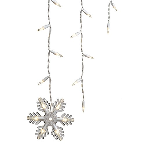 150 Count Clear Icicle Style Lights with 7 Dangling Snowflakes by GE