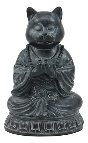 (Ebros Buddha Cat Statue In Meditating Cat Figurine Pose For Zen Cat Memorial Or Spiritual Decor)