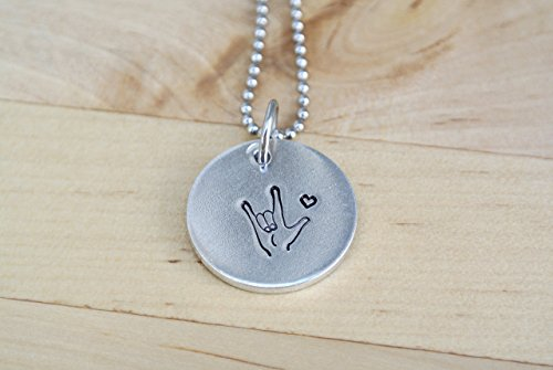 Asl Sign Love - I Love You Hand Stamped Necklace | ASL Necklace | ASL Jewelry | American Sign Language Gift | Interpreter Gift | Aluminum Jewelry | Necklace