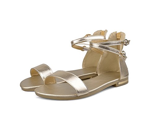 Gold No Toe Material Solid Womens Heel AmoonyFashion Soft Open Sandals Zipper Flats xTqPYapC
