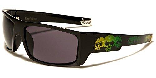 Locs Square Triple Skulls Wrap Around Sunglasses (Black, Yellow & Green Frame, - Sunglasses Locs Authentic