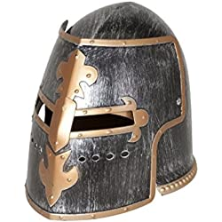 Nicky Bigs Novelties Pewter Medieval Knight Helmet Costume Headwear Accessory