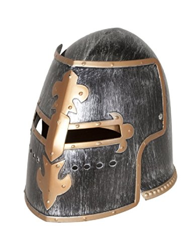 Nicky Bigs Novelties Medieval Knight Helmet Costume Headwear Accessory, Pewter, One -