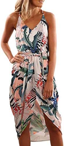 CCatyam Plus Size Dresses for Women, Skirt Split Print Sexy Loose Maxi Casual Beach Party Fashion