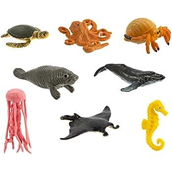 Safari Ltd Sea Life Minis Fun Pack (Humpback Whale, Octopus, Manta Ray, Sea Turtle, Jellyfish, Seahorse, Hermit Crab, and Manatee)