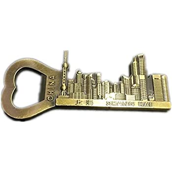 Shanghai China Bottle Opener Beer 3D Fridge Magnet Metal Strong Souvenir Tourist Gift Chinese Magnet Hand Made Craft Home and Kitchen Decoration Letter ...