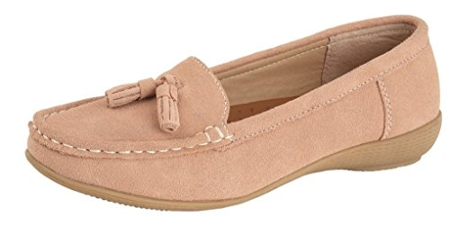 Boulevard Ladies Womens Soft Leather Suede Tassel Casual Loafers Shoes Rose Taupe yZKN4VH