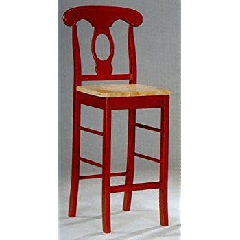 Amazon Com Napoleon Style Bar Stool Stools Kitchen Chair In Red Wood Finish Set Of 2 Kitchen Amp Dining