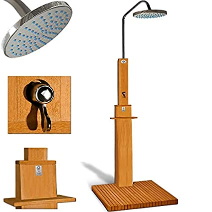Gartendusche Sauna Dusche Pooldusche Fsc Zertifiziertes Eukalyptus Holz Duschkopf Mit 2 Komponentensystem