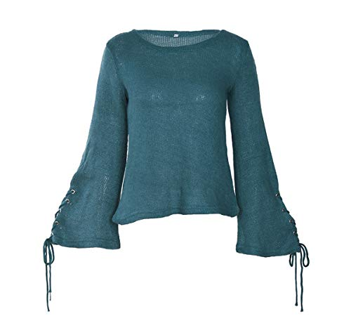 Sleeve Flare Col Tops Casual Bandage Blouse en Pullover Pull Hauts Bleu Chandail Tricots Automne Mode Hiver Sweaters Rond Maille Jumper Femmes WOZNLOYE qwz86HZZ