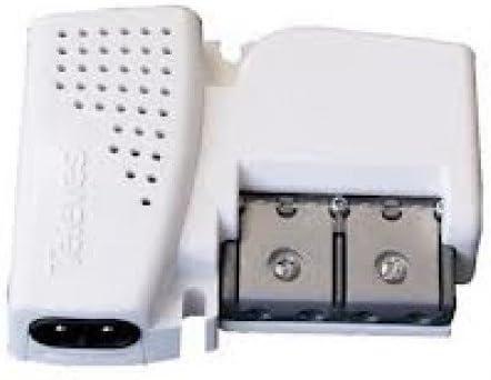 Amplificador de vivienda UHF hasta 20dB + VHF hasta 12dB, 1 entrada, 2 salidas Plug & Play Pikokom Televes 5605 con alimentación de previos 12V, ...