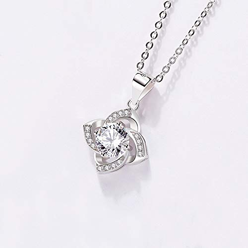 - QMJHL 925 Sterling Silver Necklace, Eternal Heart Pendant, Simple Necklace, Sweet Crystal Necklace