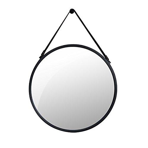 (GUOWEI High-definition Flat Mirror Vintage Wall Hanging Circular Iron Art Makeup Decoration Bathroom Black (Color : Black, Size : A-80x50x3.5cm))