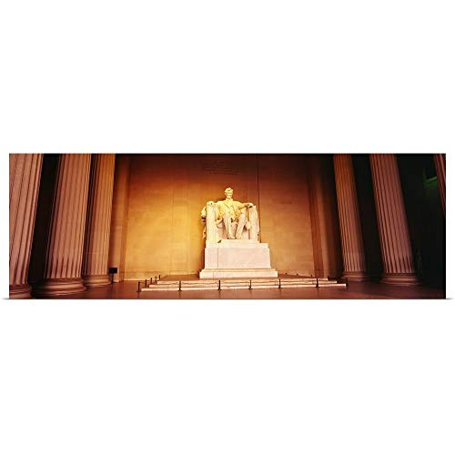 GREATBIGCANVAS Poster Print Entitled Low Angle View of a Statue of Abraham Lincoln, Lincoln Memorial, Washington DC by 36
