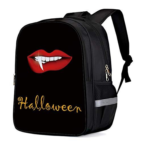 Childrens School Backpacks for Boys Girls Happy Halloween Day Vampire Red Lips Waterproof Lightweight Bookbags Students Daily Rucksack 16.1