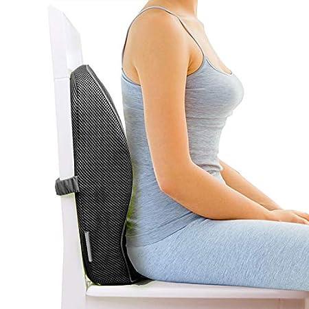 GrinHealth Memory Foam Backrest Cushion (Black) Support Mid Back
