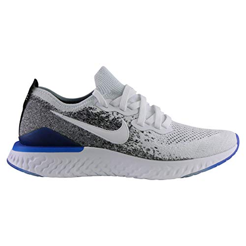 Nike Epic React Flyknit 2 Men's Running Shoe White/White-Black-Racer Blue 10.0 (Nike Flyknit Racer Black White For Sale)