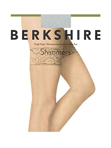 8c362ffea Galleon - Berkshire Women s Plus-Size Shimmers Ultra Sheer Lace Top Thigh  High Pantyhose Stockings 1340 - Sandalfoot