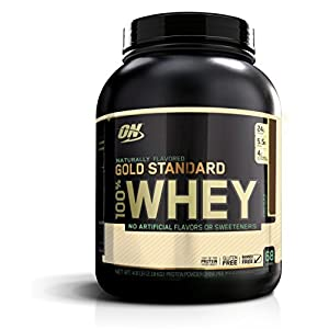 OPTIMUM NUTRITION GOLD STANDARD 100% Whey Protein Powder, Naturally Flavored Chocolate, 4.8lbs.