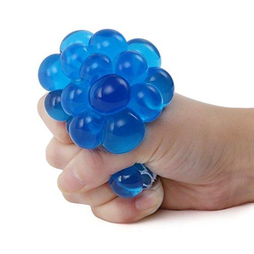 Anti Stress Reliever Grape Ball Hand Wrist Squeeze Toy Squishy Mesh Ball Gift (Blue) (1 Mesh Net)