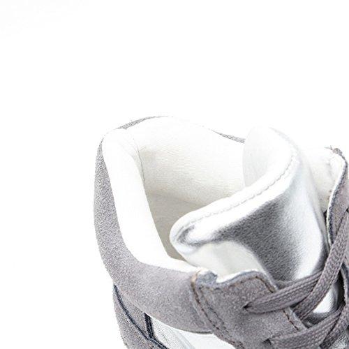 Baskets Montantes À Semelle Compensée Pour Femme - Semelle Antidérapante En Caoutchouc Talon Caché Bout Rond Plateforme Casual Chaussures Gris