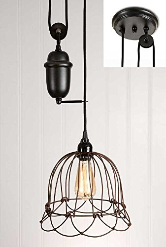 (CTW Home Collection Small Wire Bell Pulldown Pendant Lamp)
