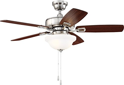 Craftmade Ceiling Fan with LED Light TCE42BNK5C1 Twist N Click 42 Inch for Bedroom, Brushed Polished Nickel Review