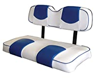 Kool Cushions EZGOTXT-WHBLCPTP-01-Custom Vinyl Golf Cart Seat Covers Front Only-White With Blue Chip Top and Piping - For EZ-GO TXT Golf Cart