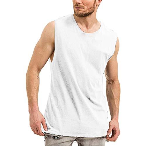BUZHIDAO Onderhemd heren tank top ronde hals mouwloos onderhemd zomer dun en ademend sporttop sneldrogend fitness…