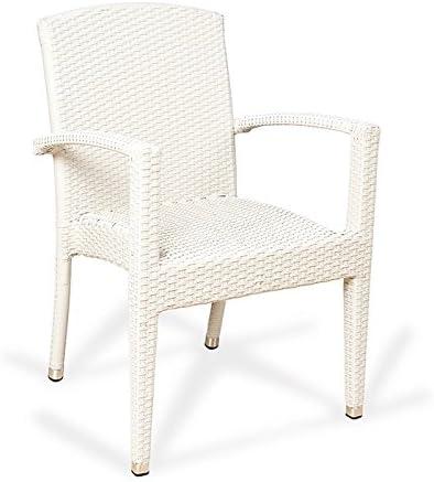 Conjunto 2 sillones ratán sintético Florencia Estilo Mimbre Trenzado de Alta Resistencia para jardín, terraza y Exterior … (Blanco): Amazon.es: Hogar