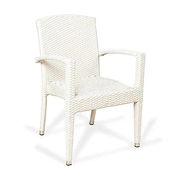 Conjunto 2 sillones ratán sintético Florencia Estilo Mimbre Trenzado de Alta Resistencia para jardín, terraza y Exterior … (Blanco)