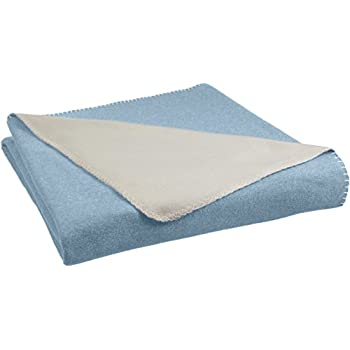 AmazonBasics Reversible Fleece Blanket - Full/Queen, Spa Blue/Taupe