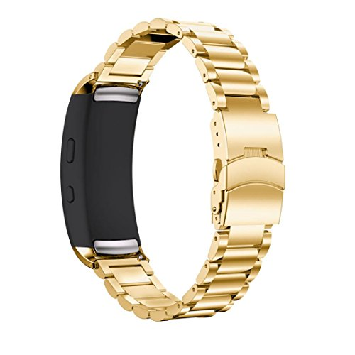 Price comparison product image Boofab Samsung Gear Fit2 pro Metal Watch Bands Quick Release Bracelet Stainless Steel Wrist Strap For Samsung Galaxy Gear Fit2 / Gear Fit2 Pro (Gold)