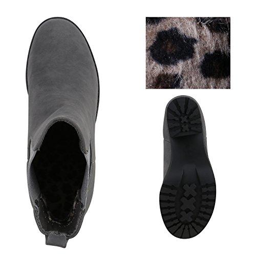 f79bfe6a10d961 ... Trendige Damen Booties Chelsea Boots Profilsohle Stiefeletten High  Heels Leder-Optik Schuhe Blockabsatz Animal Prints