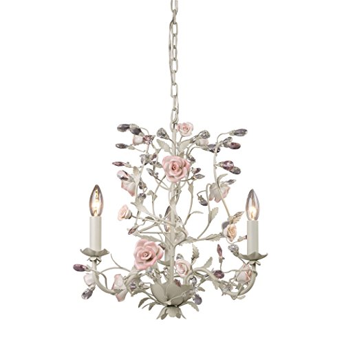 Alumbrada Collection Heritage 3 Light Chandelier In Cream With Pink Porcelain Accents
