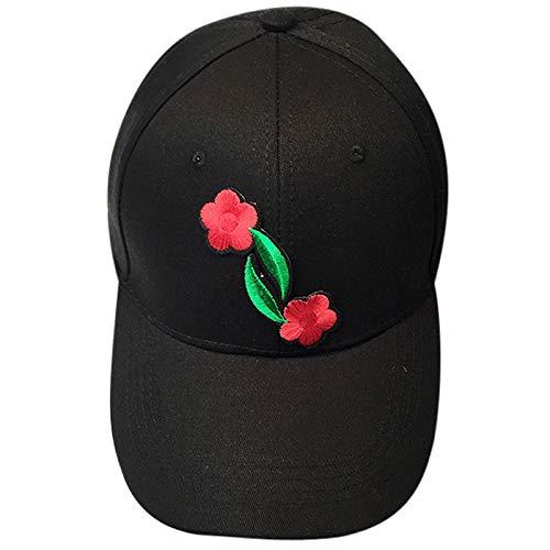 2019 New Womens Mens Gothic Caps Couple Applique Rose Printed Baseball Cap Unisex Snapback Hip Hop Flat Cotton Washed Hat (Black2)