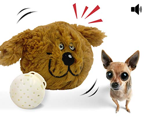 Interactive Plush Squeaky Dog Toys, Electronic Motion Pet Toy, Crazy Bouncer for Prevent Boredom (Doggy)]()