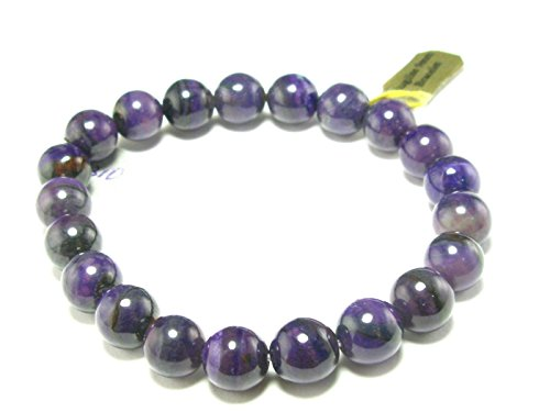 Sugilite A+ Grade Round Bracelet From South Africa - 7'' - 9mm Beads by The Russian Stone
