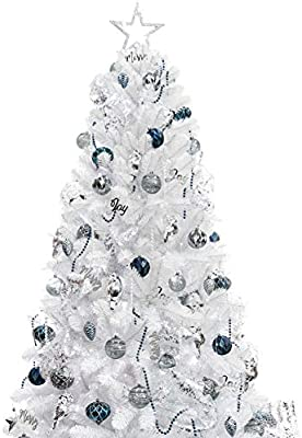 Amazon Com Ki Store 7ft Artificial Christmas Tree With Ornaments And Lights White Christmas Decorations Including 7 Feet Full Tree 135pcs Ornaments 2 Pcs 59ft Usb Mini Led String Lights Home Kitchen
