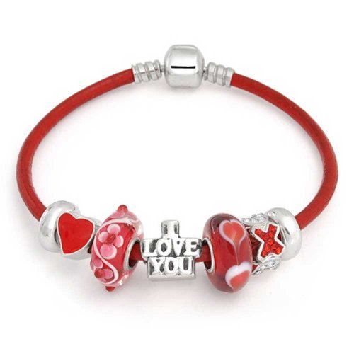 Bling Jewelry I Love You Heart CZ 925 Silver Charm Bracelet