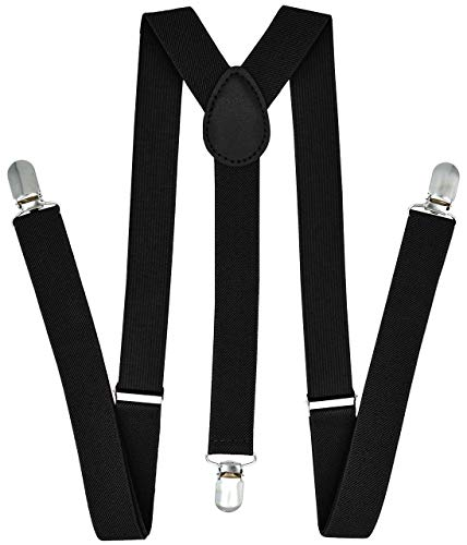 Trilece Suspenders for Men - Adjustable Elastic Y Back Style Suspender - Strong Clips (Black) -