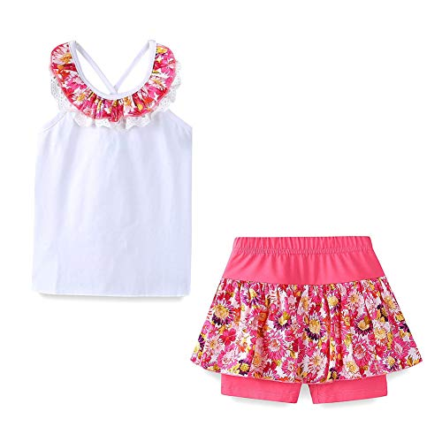 LittleSpring Toddler Girls Summer Outfit Floral Top and Shorts 2PCS Clothing Set White Size 3T]()