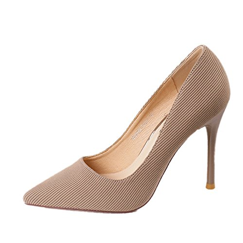 Shoes Party Elegant Point Leisure All With Sexy 36 Temperament Shoes Heels High Fine Shallow Work Lady Elegant Beige Spring MDRW 10Cm Match nCxtHUqwt