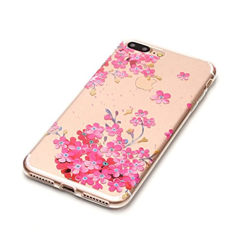 "Crisant Case Cover For Apple iPhone 7 Plus 5.5"" (5,5''),Fleurs roses Premium gel TPU souple Très mince Transparent Clair Bumper silicone protection Housse arrière coque étui Pour Apple iPhone 7 Plus 5"