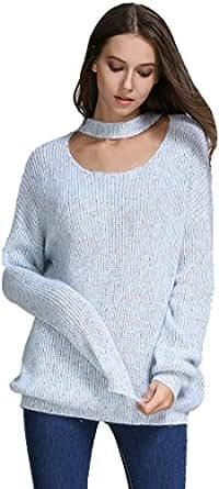 Alinfu Women's Mock Neck Oversized Sweater Cardigan Long Sleeve Batwing Pullover (10-14/M-L, Light Blue)