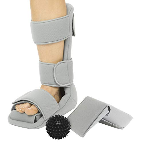- Vive Plantar Fasciitis Night Splint Plus Trigger Point Spike Ball - Soft Leg Brace Support, Orthopedic Sleeping Immobilizer Stretch Boot - Heel Spur, Foot Pain, Achilles Inflammation, Soreness Relief