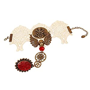 Olsen Twins Steampunk Gothic Lace Skull Skeleton Collar Necklace Bracelet Jewelry