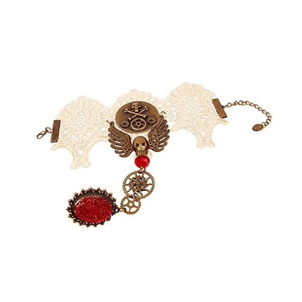 Olsen Twins Steampunk Gothic Lace Skull Skeleton Collar Necklace Bracelet Jewelry 3
